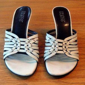 Franco Sarto White Leather Slide Sandals